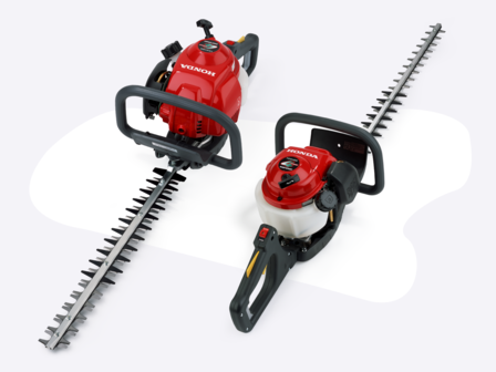Two hedgetrimmers side by side, one shown from the front side on, one shown from the rear side on.