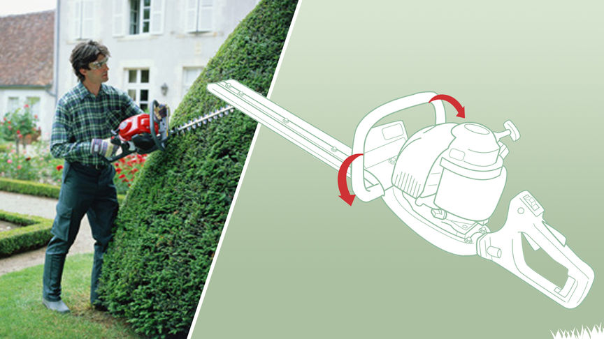 Left: Honda Hedgretimmers, being used by model, garden location. Right: Diagram of handles and controls.