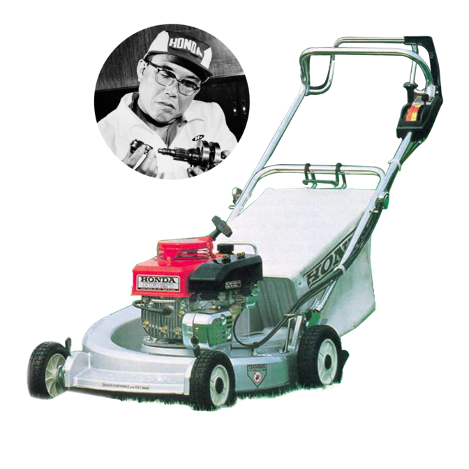 Front three-quarter facing Honda lawnmower with Soichiro Honda.