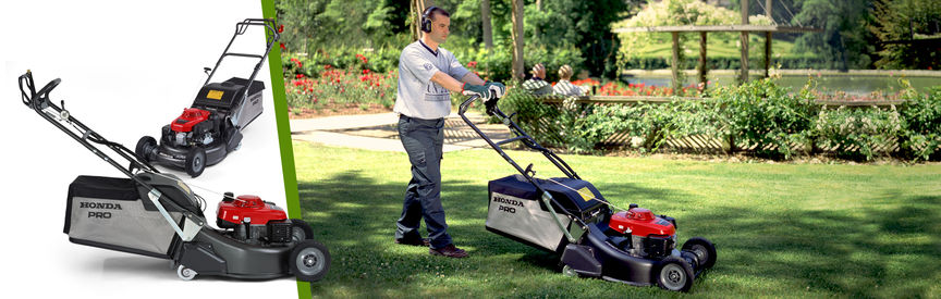 Left: 2x Honda lawnmowers Right: side view, right facing, being used by model, garden location.