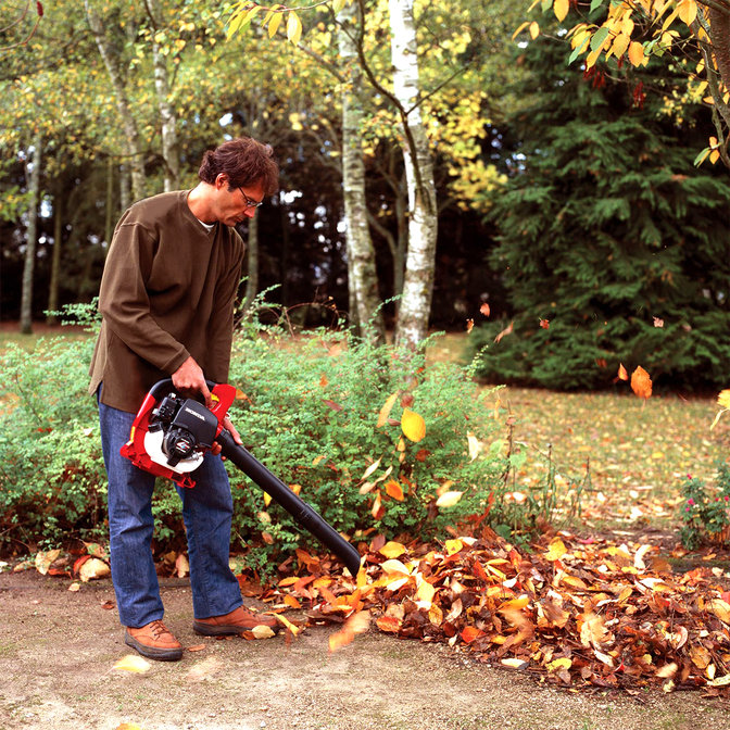 Leafblower being used by model, garden location.
