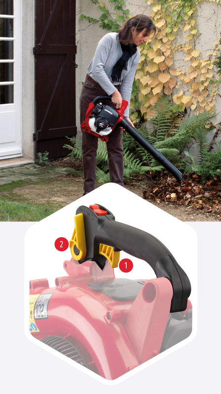 Top: Leafblower being used by model, garden location. Bottom: Close up of leafblower focusing on throttle lever and cruise control lever.