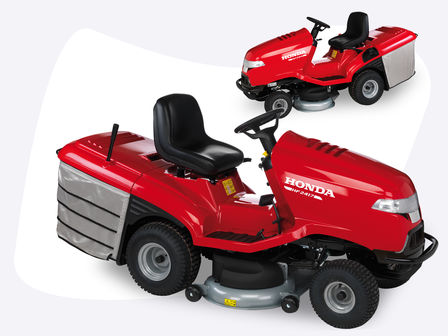 Two ride-on mowers, over shown from the right, one shown from the left.