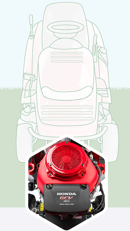 Illustration of lawn tractor, focusing on engine.