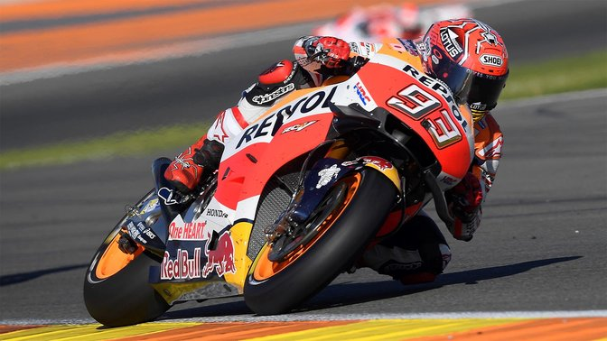 Front facing, location shot of MotoGP World Champion.