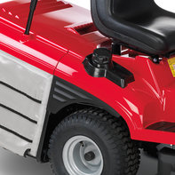 Close up of premium lawn tractors, focusing on fuel tank.