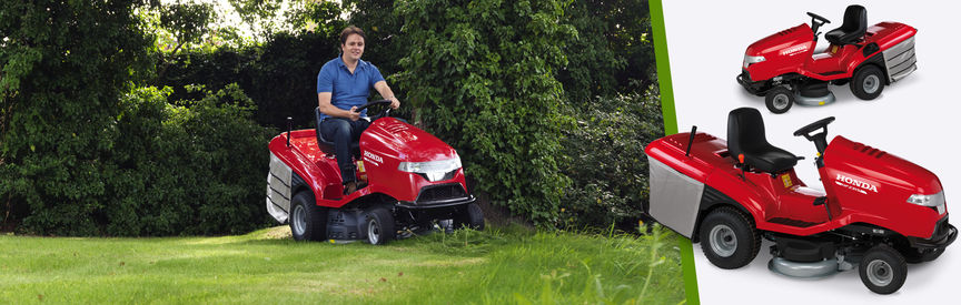 Left: Honda Ride-on mower, being used by model, garden location. Right: 2x Ride-on mowers.