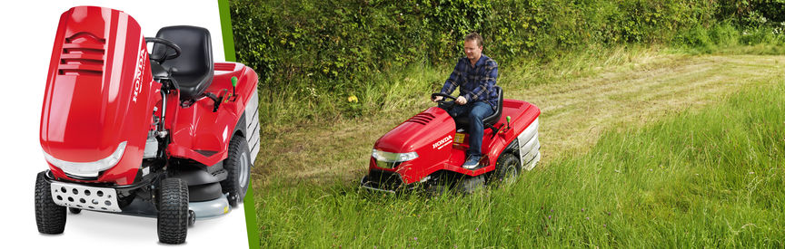 Left: Honda Ride-on mower front-threequarter, left facing. Right: Ride-on mower, being used by model, garden location.