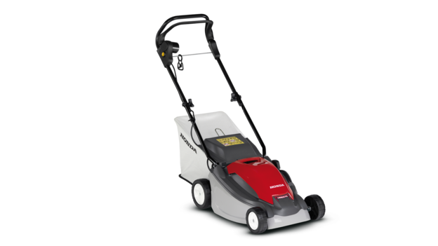 Honda lawnmower, front three quarter, right facing.
