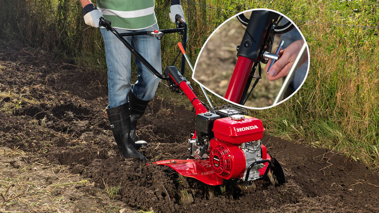 Compact tiller, focusing on adjustable handle, garden location.