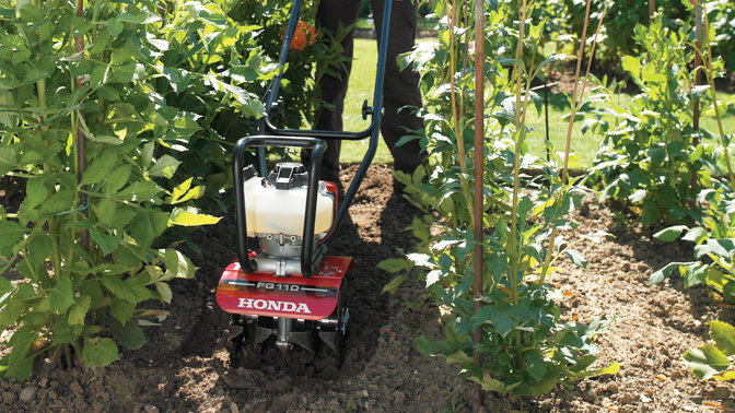 Honda microtillers, on location.
