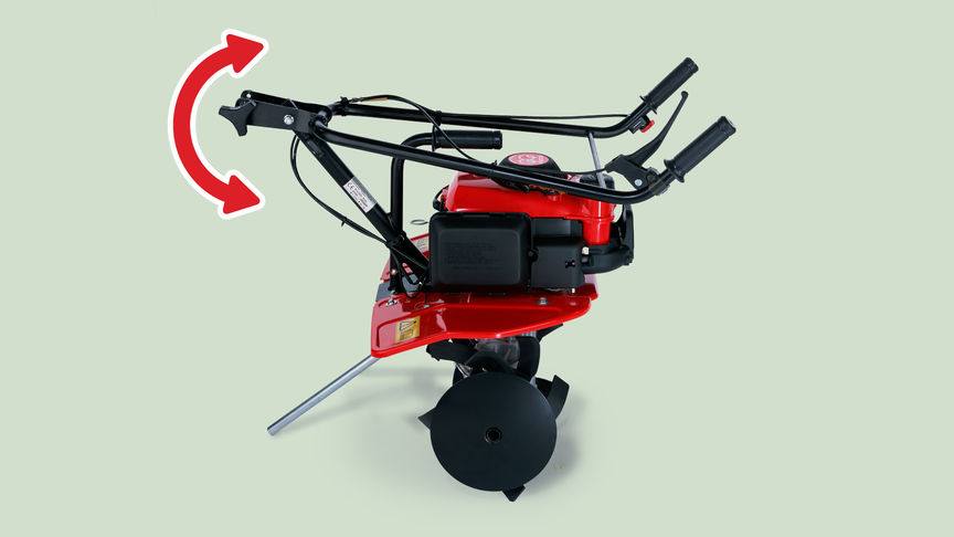Mini tiller, focusing on foldable handle.