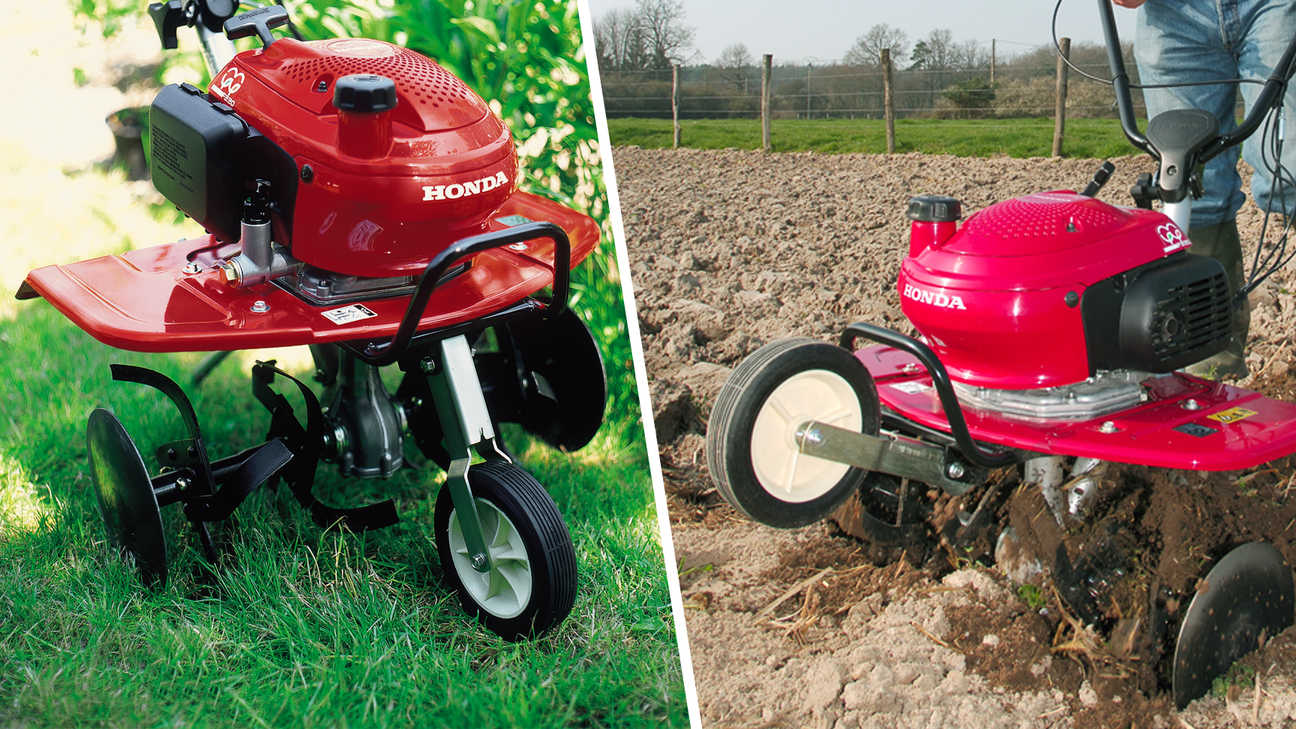 Left: Mini tiller, garden location. Right: Mini tiller, in use, garden location.