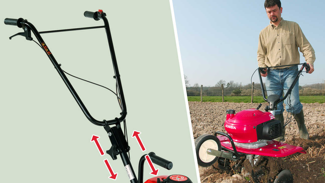 Left: Mini tiller focusing on height adjustable handle. Right: Mini tiller in use, garden location.