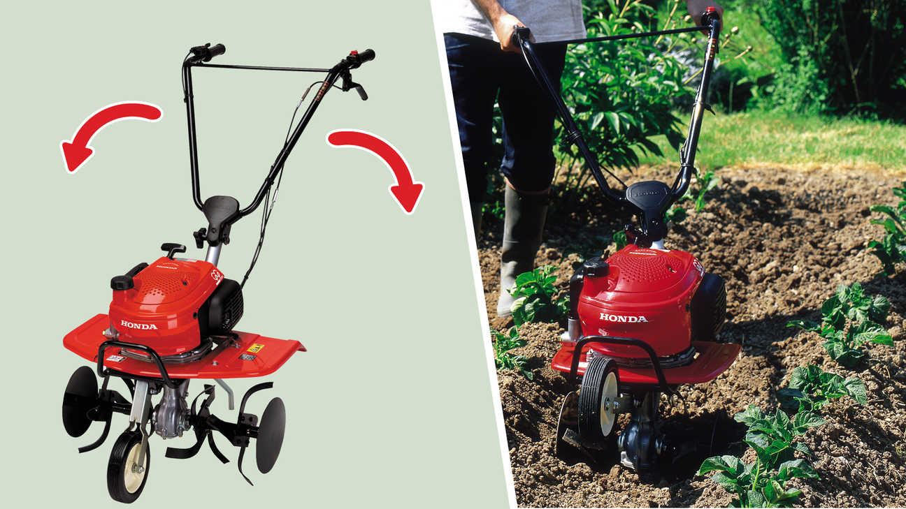 Left: Mini tillers focusing on swing handle. Right: Mini tiller garden location.