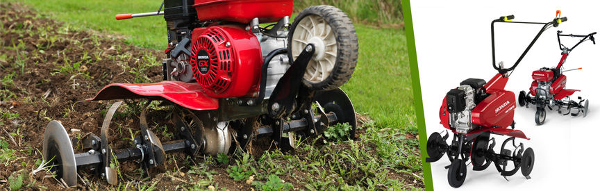 Left: Compact Tiller in use, garden location. Right: 2x Honda Compact Tillers.