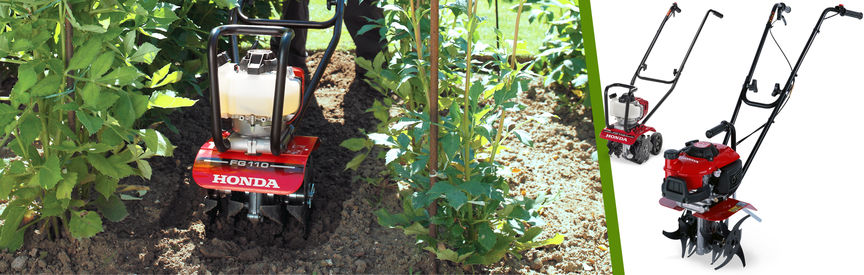 Left: Honda Micro Tiller in use, garden location. Right: 2x Micro Tillers, left facing.