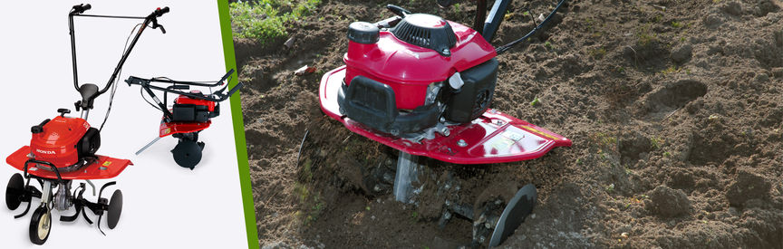 Left: 2x Honda Mini Tillers Right: Mini Tiller in use, garden location.