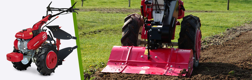 Left: Honda Versatile Tiller, left facing. Right: Versatile Tiller in use, garden location.