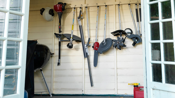 Honda Versatool attachment options, garden shed location.
