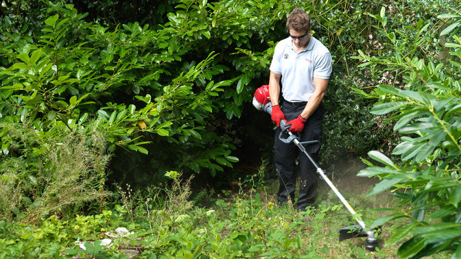 Honda Versatool with line trimmer attachment, being used by model, garden location.