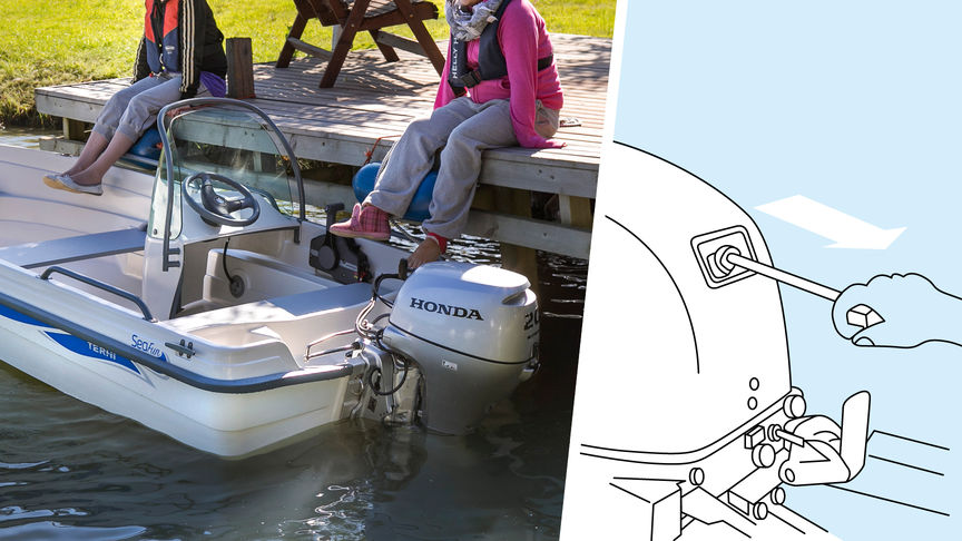 Left: Boat with Honda engine, dock location. Right: Illustration of decompression system.