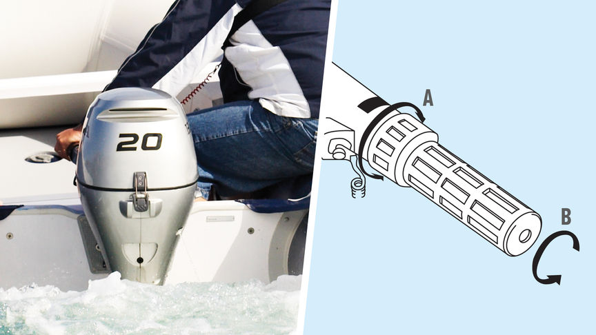 Left: Close up of BF20 engine, coastal location. Right: Illustration of Forward Mount Shift Lever.