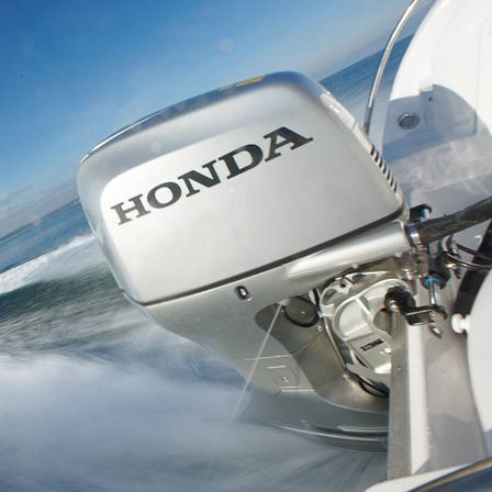 Close up of Honda engine, coastal location.