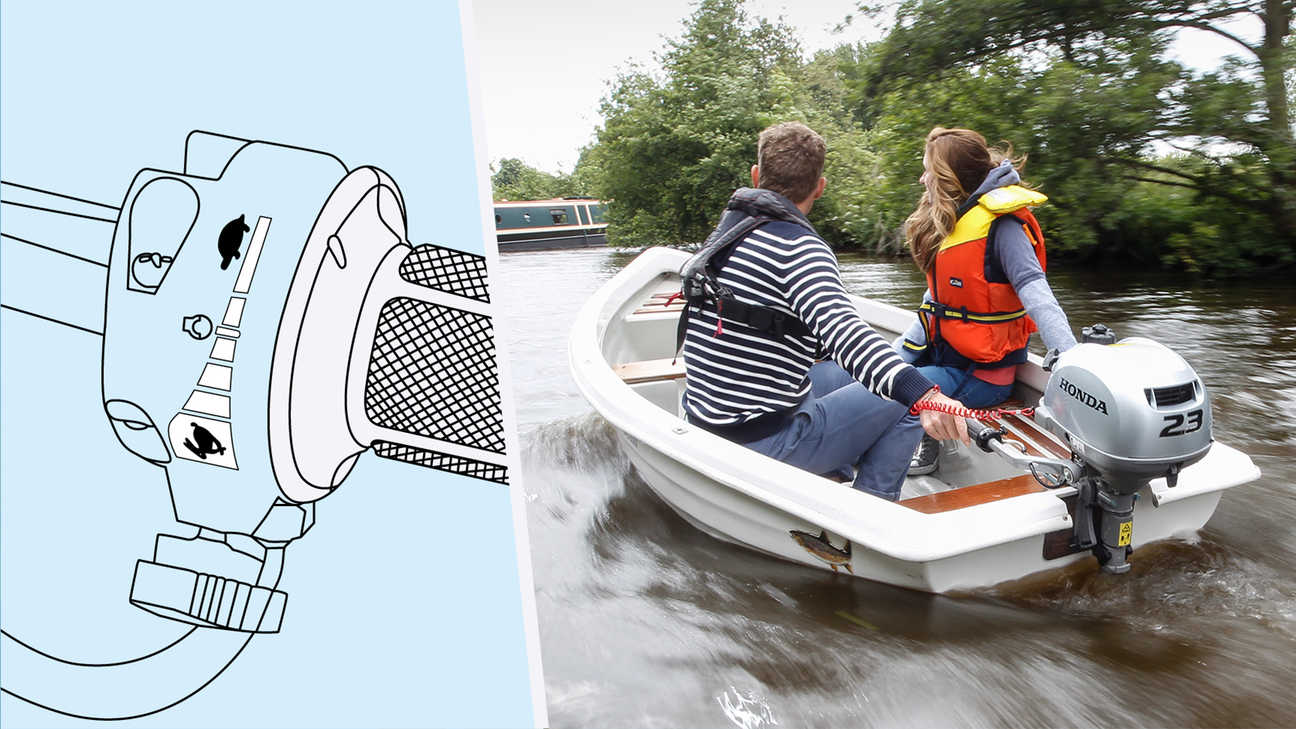 Two people in a boat using the BF2.3 throttle control