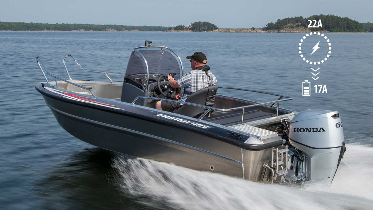 side angled view of man steering a boat powered by a 60 horsepower honda outboard engine