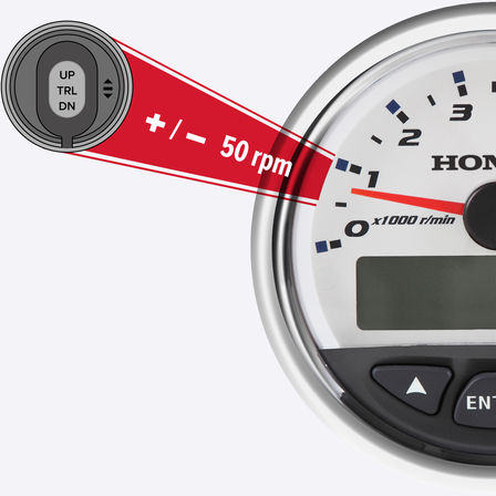 close up illustration of a honda outboard engine speedometer