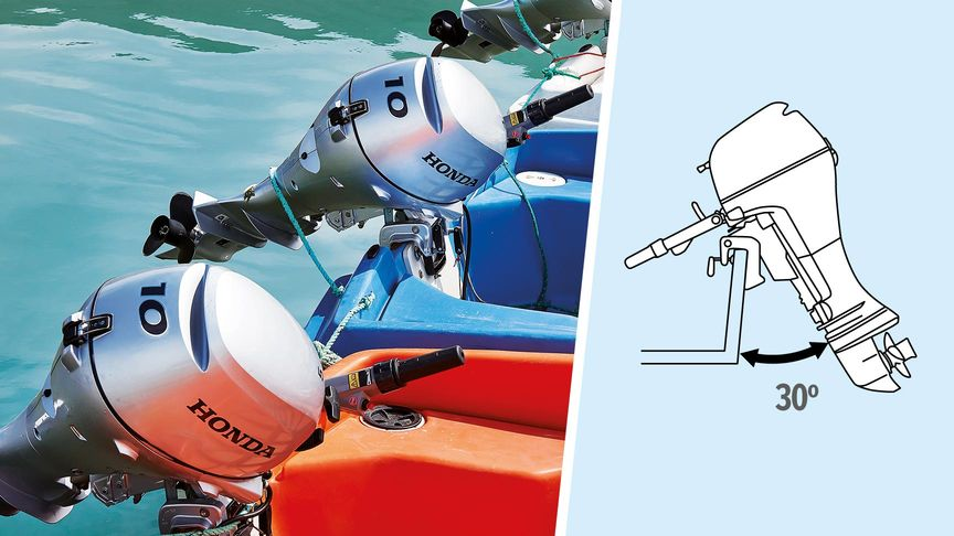 Left: Boat with Honda engine, coastal location. Right: Illustration of 5-stage tilt.