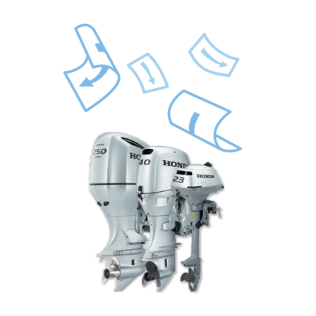 3x Honda Marine engine, brochure illustration.