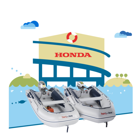 2x Honda Inflatables, dealer illustration.