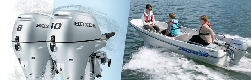 Left: 2x Honda Marine engines. Right: Boat with Honda engine, being used by model, coastal location.