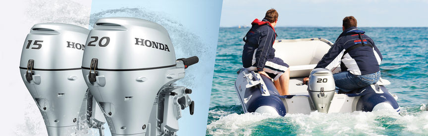 Left: 2x Honda Marine engines. Right: Boat with Honda engine, being used by models, coastal location.