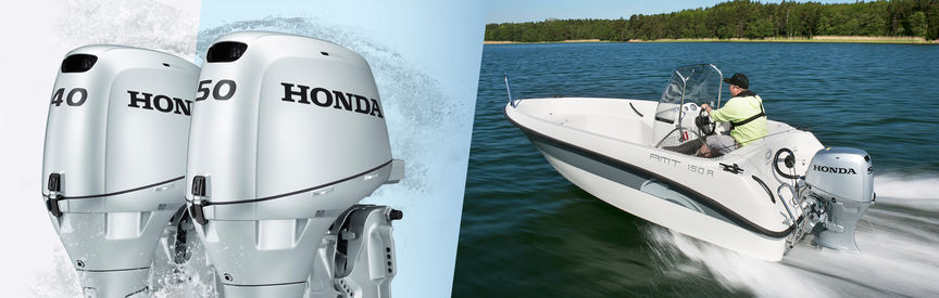 Left: 2x Honda Marine engines. Right: Boat with Honda engine, being used by models, lake location.
