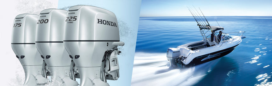 Left: 3x Honda Marine engines. Right: Boat with Honda engine, being used by models, coastal location.