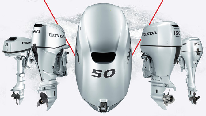 5x Honda Marine engines, front three-quarter facing.