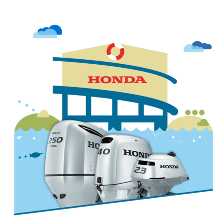 3x Honda Marine engines, dealer illustration.