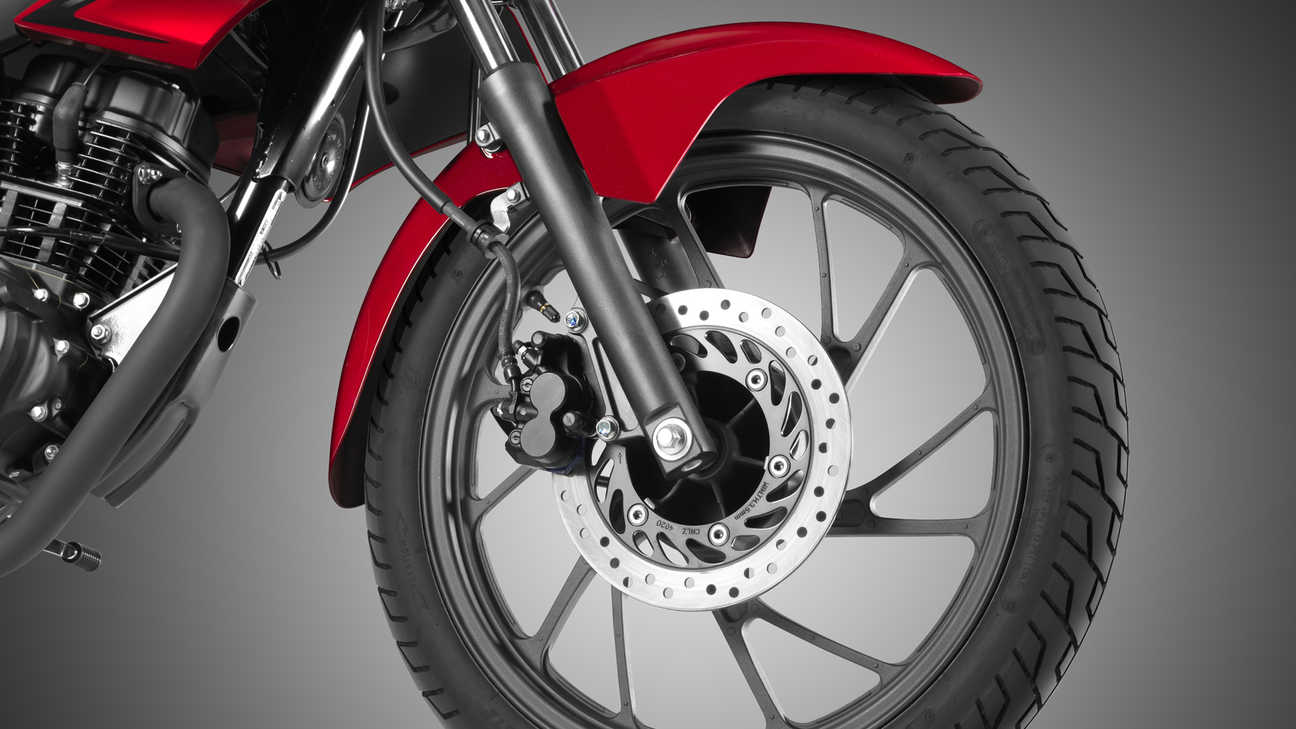Close up of CB125F six-spoke aluminium wheels