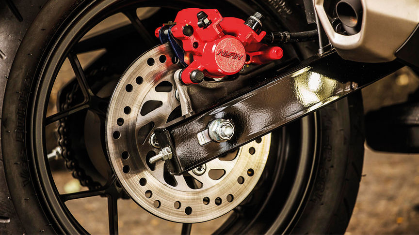 Close up of the Honda MSX125 Rear wheel and brake
