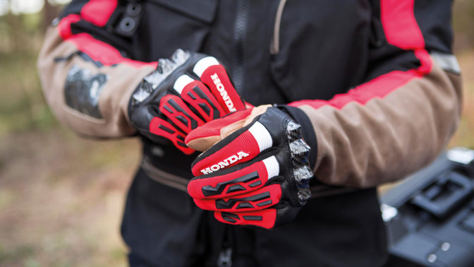 Close-up of gloves on man's hands