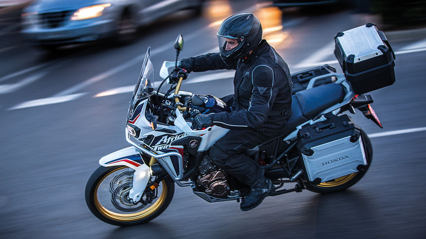 An Africa Twin motorcylce on the city streets