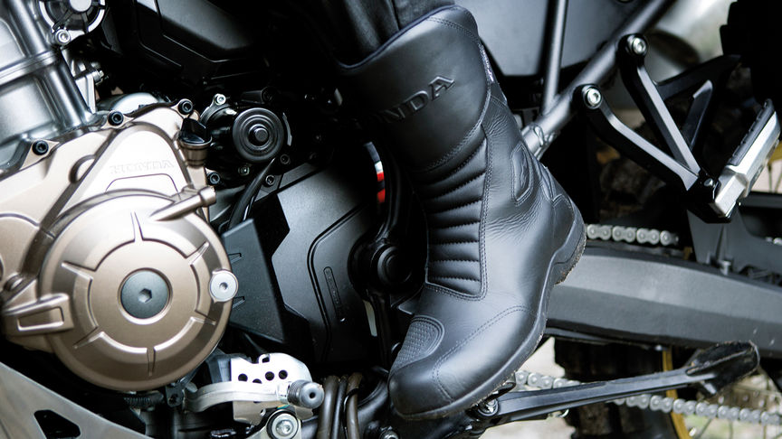 The foot shift pedal on the Africa Twin motorcycle