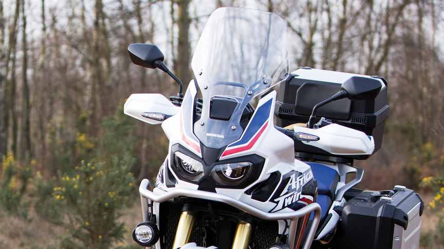 The screen of a Honda Africa Twin motorcycle