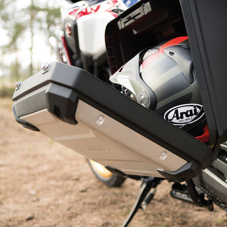An open pannier on the Honda Africa Twin