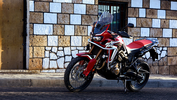 Honda Africa Twin side view street location.