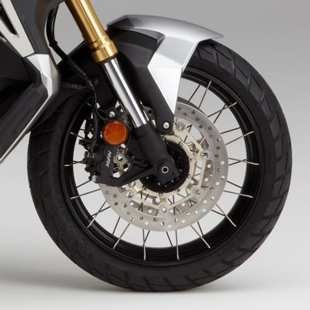 Close up of Honda X-ADV front wheel.