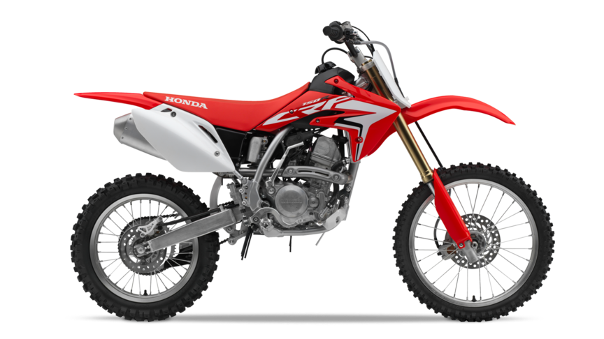Side on, right-facing red CRF150R.